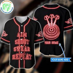 Aim Shoot Sweat Repeat Custom Name Baseball Shirt