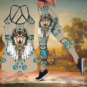 Amazing Native Wolf Girl Cross Tank Top Legging 3D