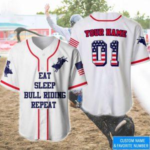 America Flag Eat Sleep Bull Riding Repeat Custom Name Baseball Shirt