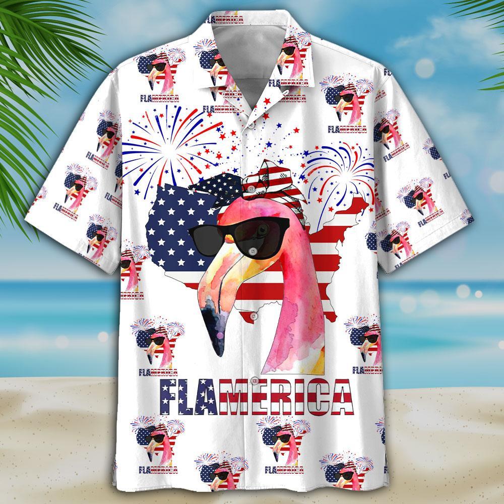 America Flag Flamingo Hawiian Shirt And Short