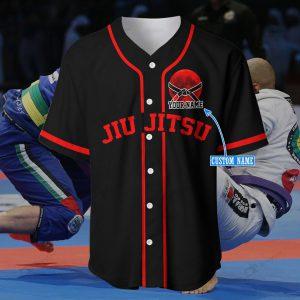 America Flag Jiu Jutsu Red Custom name Baseball Shirt