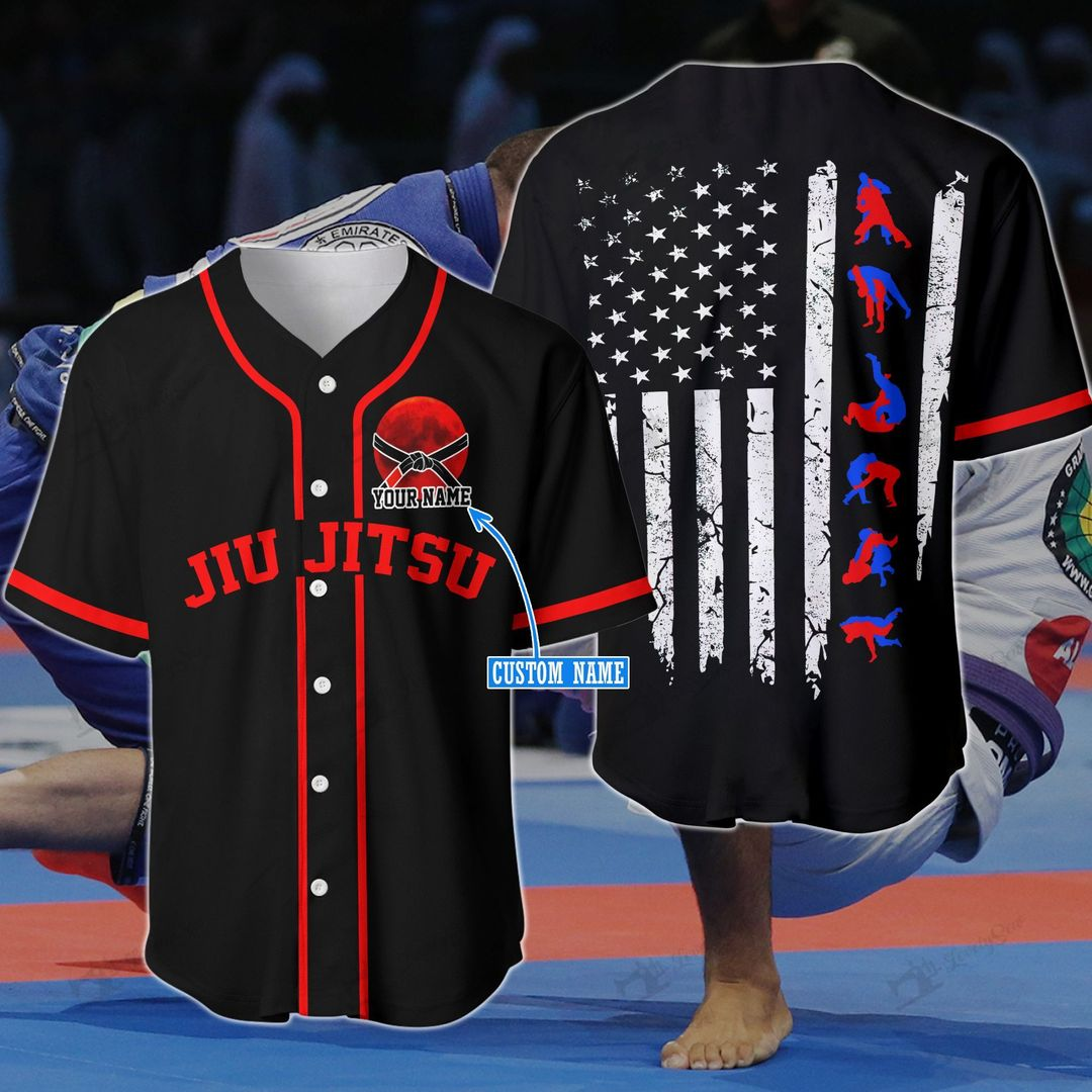 America Flag Jiu Jutsu Red Custom name Baseball Shirt1