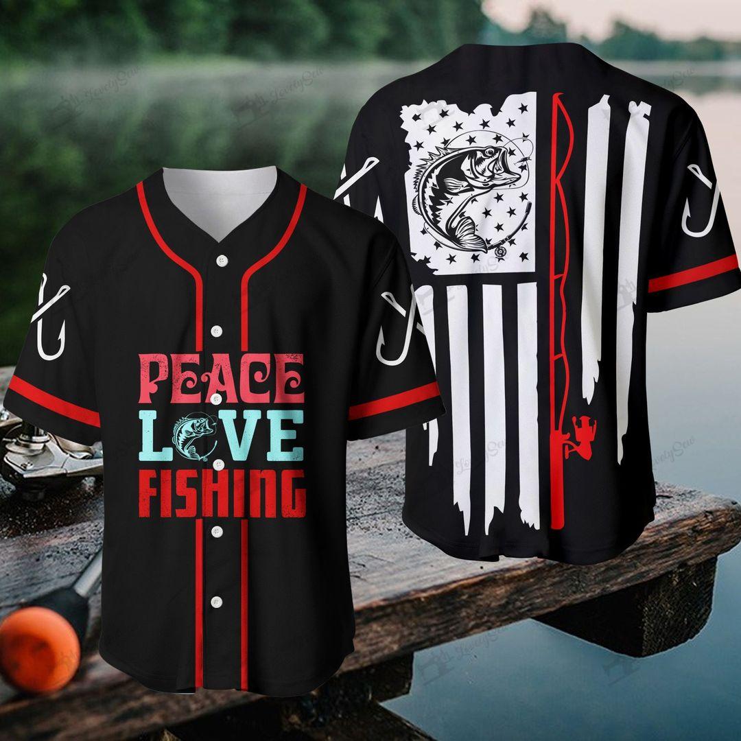 America Peace Love Fishing Baseball Shirt