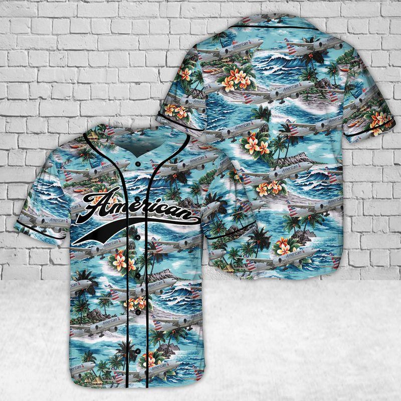 American Airlines Hawaiian Baseball Jersey Shirt