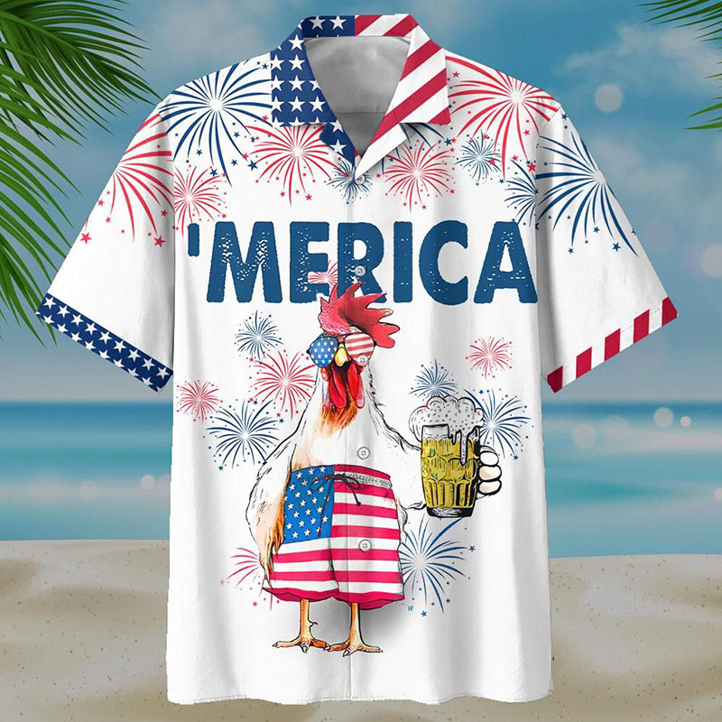 American Chicken Beer Hawaiian Shirt And Short