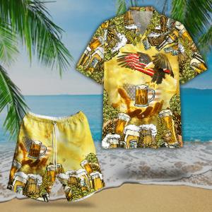 American Eagles And Beer Hawaiian Shirt And Short