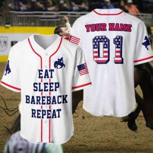 American Eat Sleep Bareback Repeat Custom Name Baseball Shirt