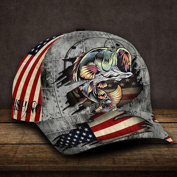 American Flag Bass Fishing Cap 1