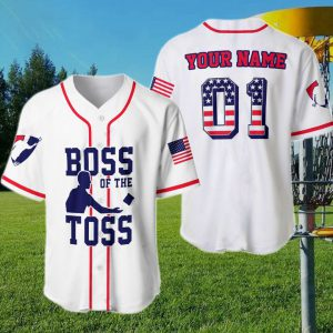 American Flag Boss Of The Toss Custom Name Baseball Shirt