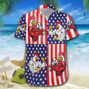 American Flag Chicken Rooster Fight Hawaiian Shirt And Short5