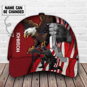American Flag Eagle Veteran Custom Name Cap
