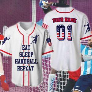 American Flag Eat Sleep Handball Repeat Custom Name Shirt