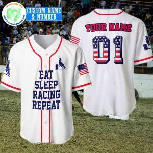 American Flag Eat Sleep Racing Repeat Custom Name And Number Baseball Shirt