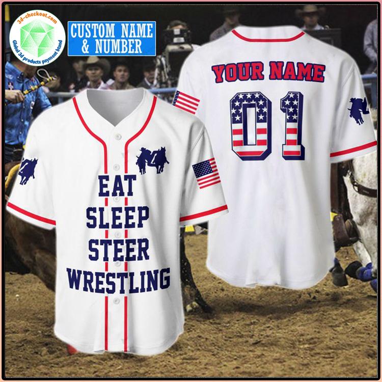 American Flag Eat Sleep Steer Wrestling Custom Name Baseball Shirt1
