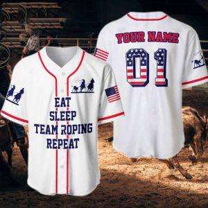 American Flag Eat Sleep Team Roping Repeat Custom Name Baseball Shirt