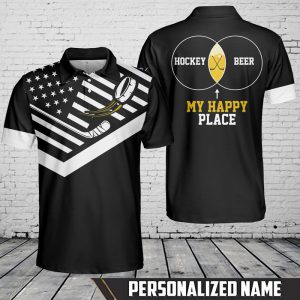 American Flag Hockey And Beer My Happy Place Custom Name Polo Shirt