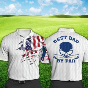 American Flag Skull Best Dad By Par Polo Shirt