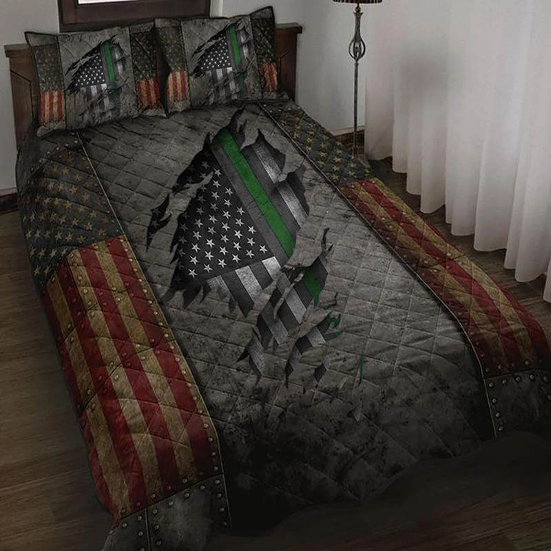 American Flag Veteran Thin Green Line Bedding Set Bedding Set