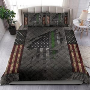 American Flag Veteran Thin Green Line Bedding Set Bedding Set2