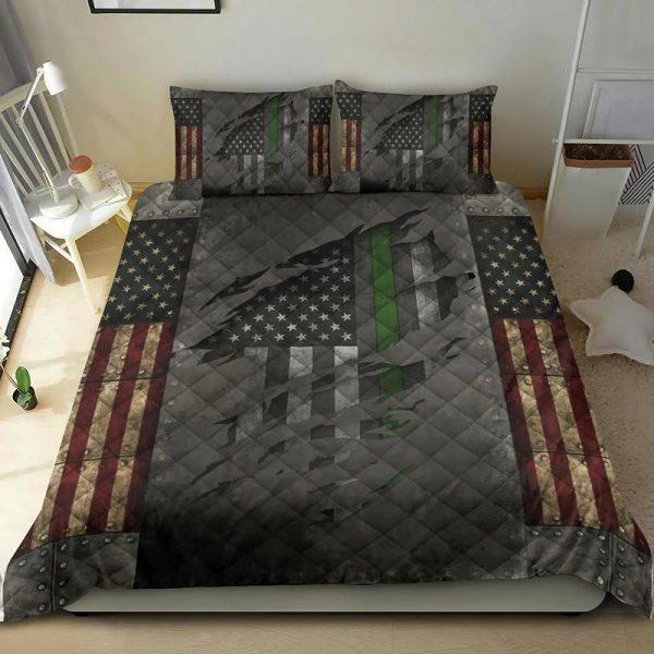 American Flag Veteran Thin Green Line Bedding Set Bedding Set3
