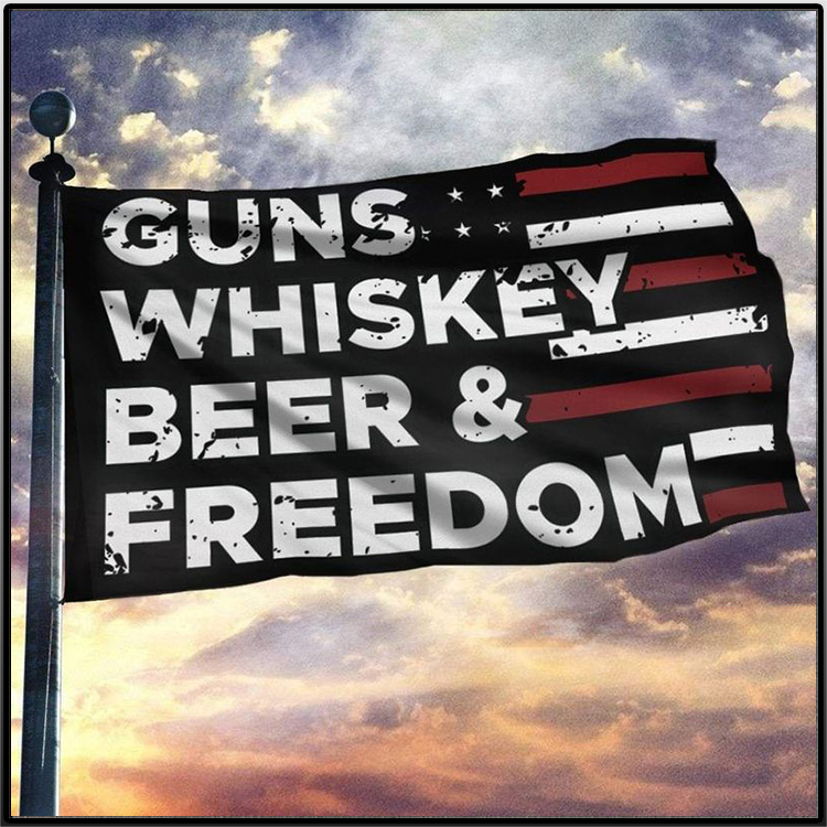 American Guns Whiskey Beer And Freedom Flag2