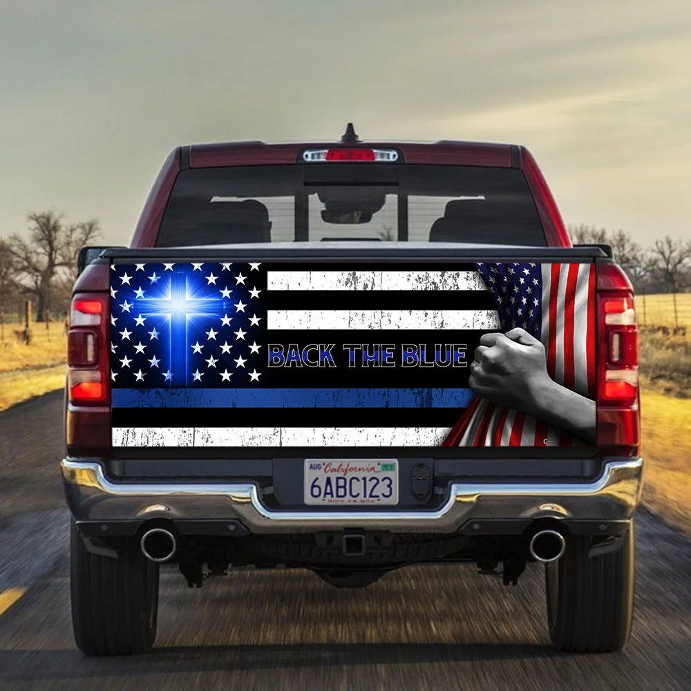 American flag Back the blue Christian Truck Tailgate Decal