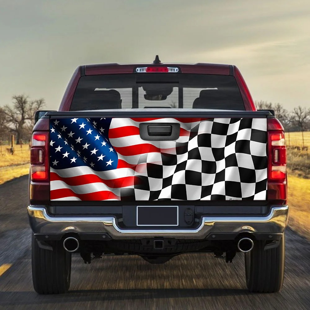 American flag racing Truck Tailgate Decal
