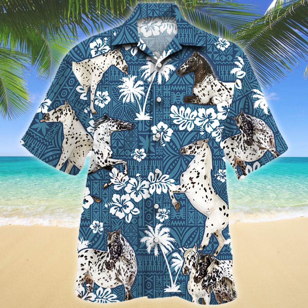 Appaloosa Horse Blue Tribal Pattern Hawaiian Shirt