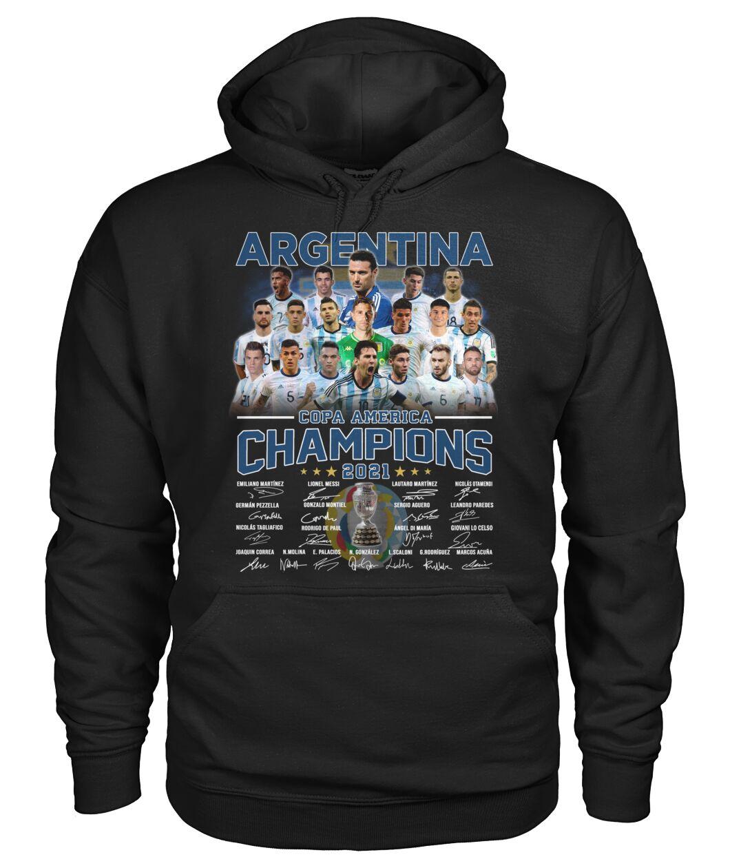 Argentia Copa America Champion 2021 signatures shirt hoodie 14