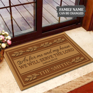 As For Me And My House We Will Serve The Lord custom name Doormat