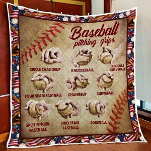 Baseball Pitching Grips Quilt Blanket Block Of Gear Quilt