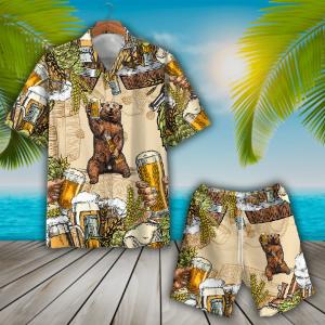 Bear And Beer Hawaiian Shirt And Short