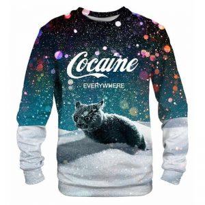 Black Cat Cocaine Everywhere Long Sleeve Shirt
