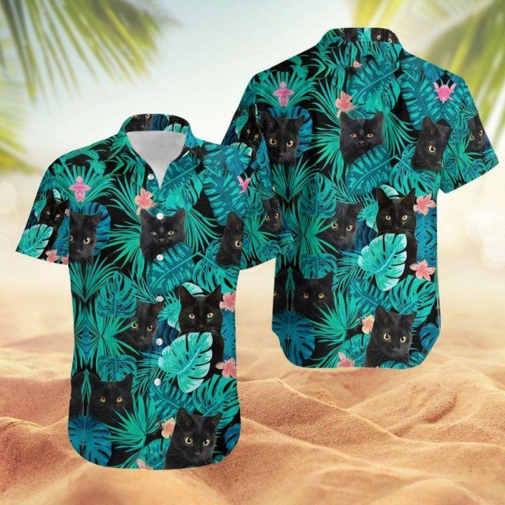 Black Cat Hawaiian Shirt And Short