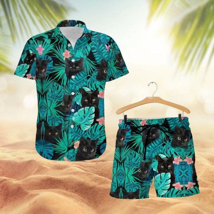 Black Cat Hawaiian Shirt And Short1