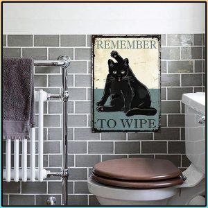 Black Cat Remember To Wipe Metal Sign 1