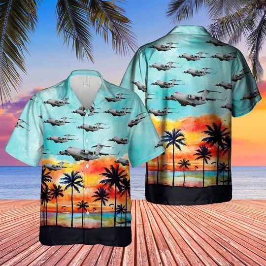 Boeing c 17 globemaster III uk c 17 hawaiian shirt 1 1
