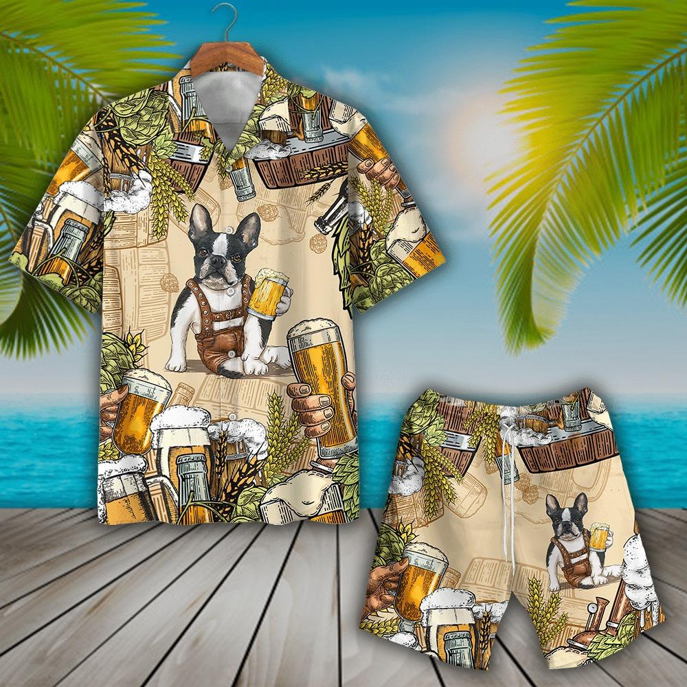 Boston Terrier And Beer Hawaiian Shirt And Short