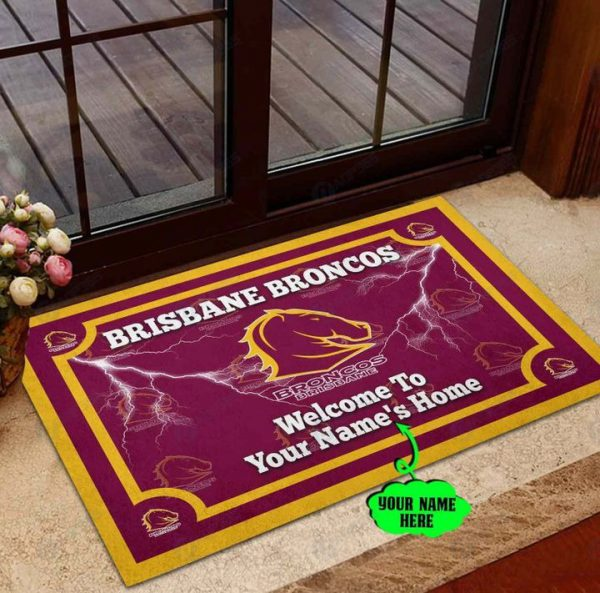 Brisbane Broncos welcome to home Personalized Doormat