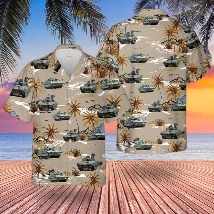Bristish Army Ajax Armoured Fighting Hawaiian Shirt and short