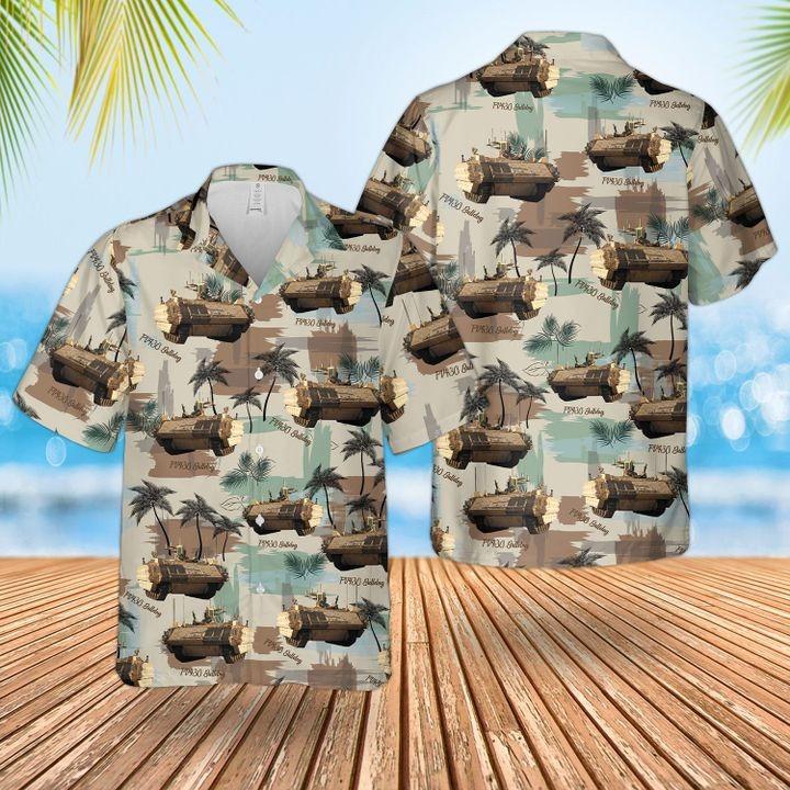 Bristish Army Bulldog Fv430 Combat Vehicle Hawaiian Shirt and short