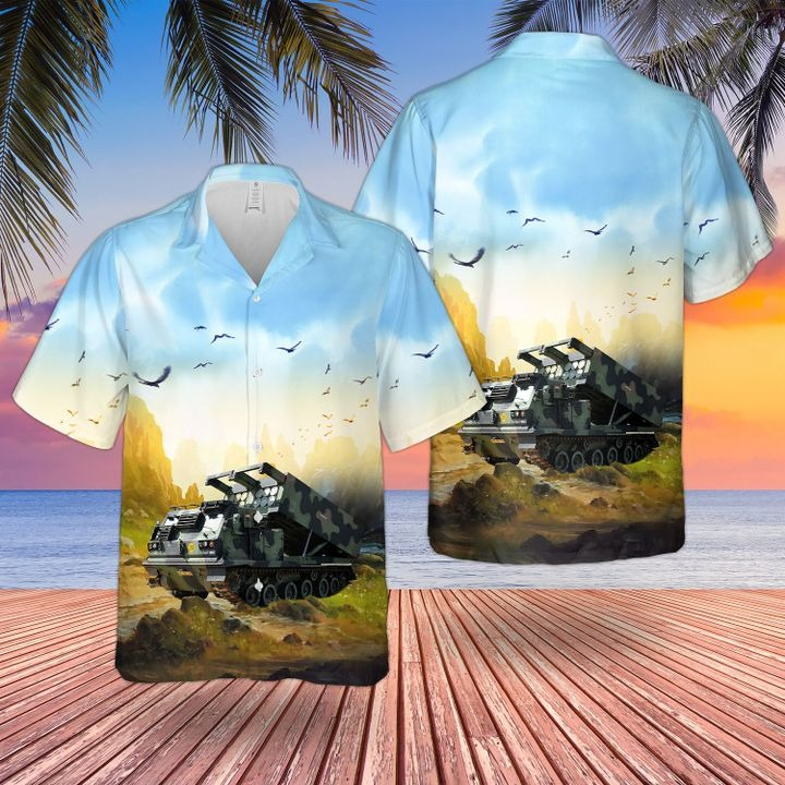 Bristish Army M270 Multi Launch Rocket System Hawaiian Shirt and short