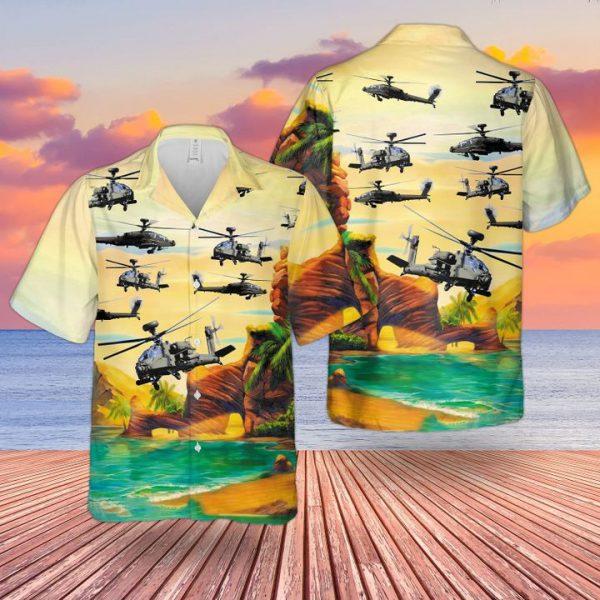 Bristish Army Westland Wah 64 Apache Hawaiian Hawaiian Shirt and short