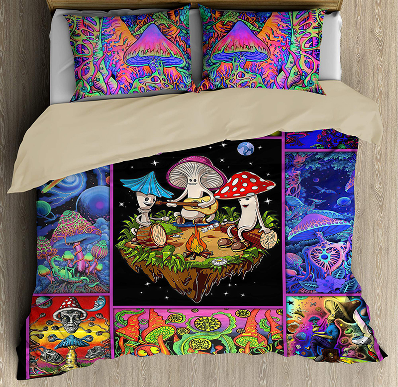 Colorful Mushroom Hippie Bedding Set1
