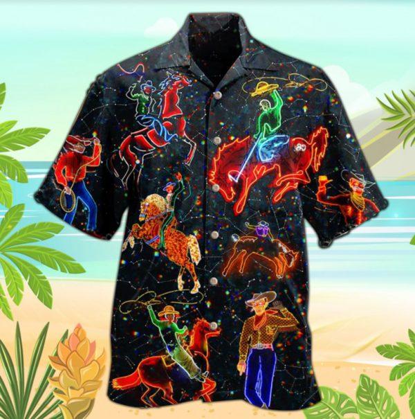 Cowboy neon hawaiian shirt
