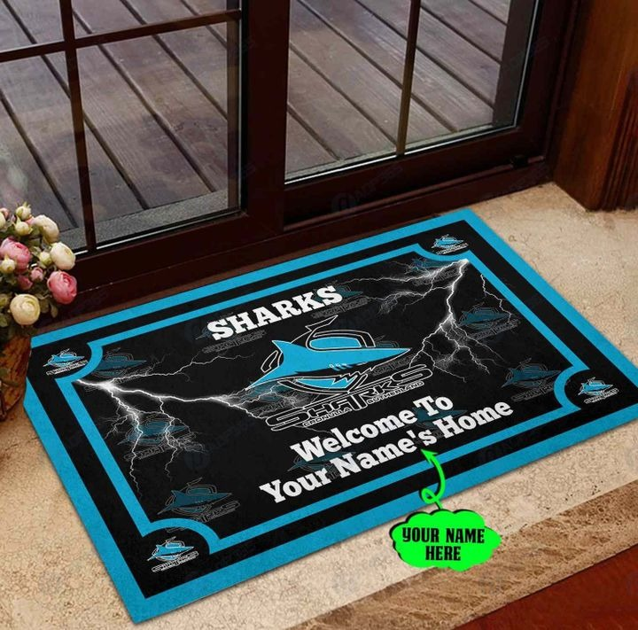 Cronulla Sutherland Sharks Personalized welcome to home Doormat