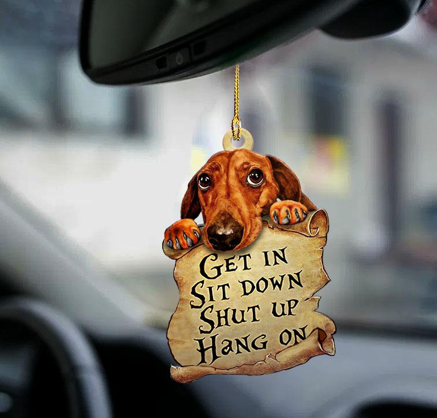 Dachshund get in sit down shut up hang on ornament 1