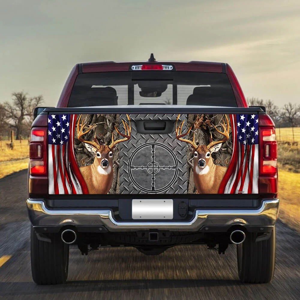 Deer huting American flag Truck Tailgate Decal