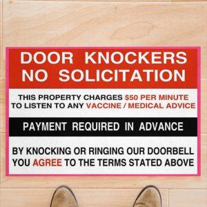 Door knockers no solicitation payment required in advance doormat 1