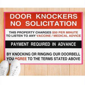 Door knockers no solicitation payment required in advance doormat 2
